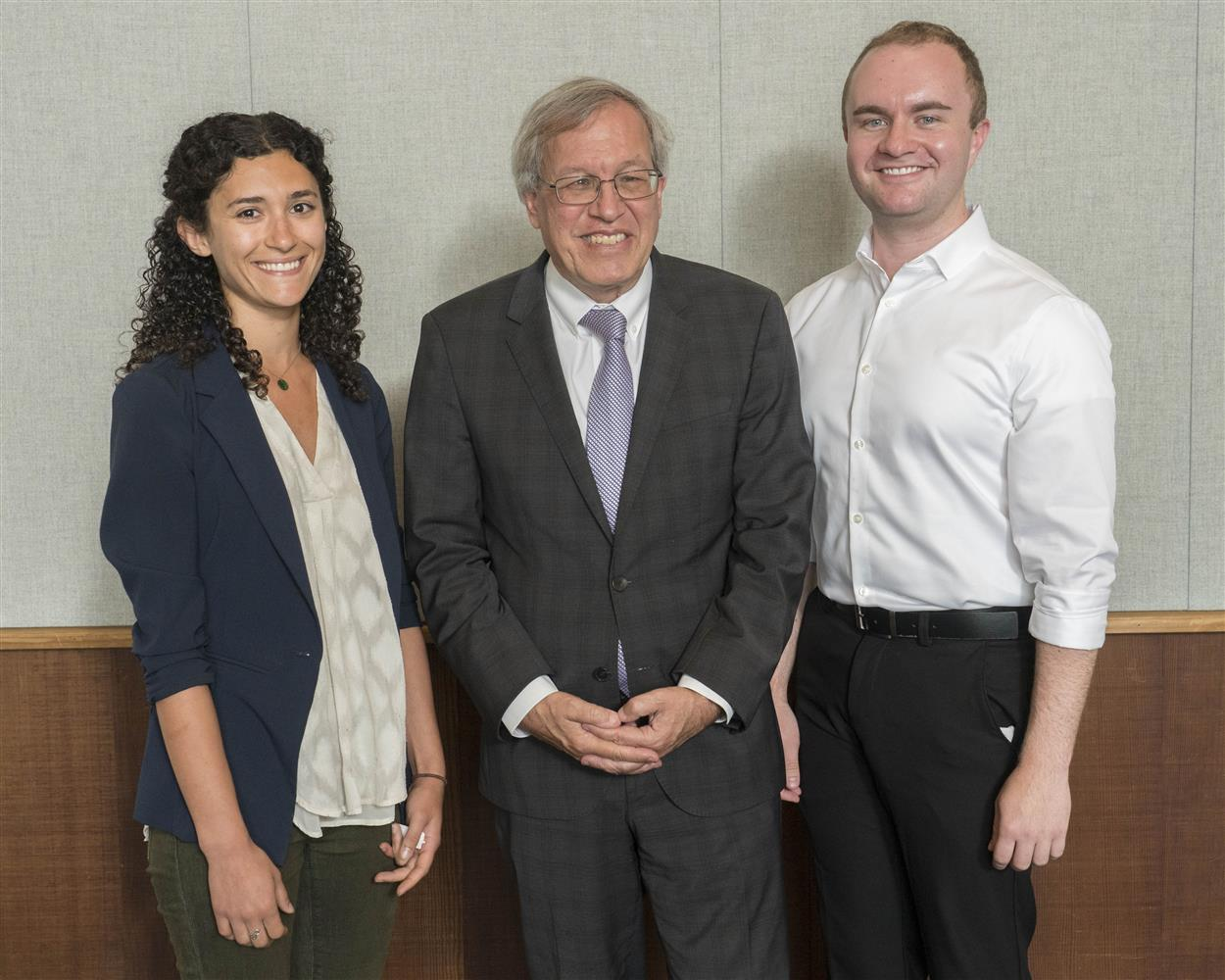 From left to right Emily M., Dean Chemerinsky, and Ansel C.